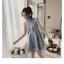 เดรสเกาหลี พร้อมส่ง ชุดเดรส ผ้าโปร่งปักด้ายสีเทา thumbnail 6