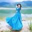 ชุดเดรสเกาหลี พร้อมส่ง เดรสยาว สีน้ำเงินเข้ม สีสวย คอปก thumbnail 2
