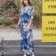 ชุดเดรสเกาหลี พร้อมส่ง maxi dress สีน้ำเงินพิมพ์ลายดอก thumbnail 1