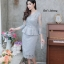 ชุดเดรสเกาหลี พร้อมส่ง Dress ผ้าไหมปักลูกไม้คอวี thumbnail 7
