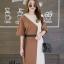 เดรสเกาหลี พร้อมส่ง Long Dress เดรสทูโทน ตัวยา thumbnail 5