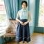 ชุดเดรสเกาหลี พร้อมส่ง ชุดเดรส กับ เสื้อคลุม แขนยาวพองๆ thumbnail 2