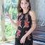 เสื้อผ้าแฟชั่นเกาหลี จั้มสูทปักดอกกุหลาบ พร้อมส่ง thumbnail 4