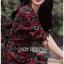 เดรสเกาหลี พร้อมส่ง เดรสผ้าเครป พิมพ์ลายดอกกุหลาบสีแดง thumbnail 7