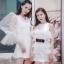 เดรสเกาหลี พร้อมส่ง มินิเดรสสีขาว ช่วงแขนเป็นผ้าซีทรู thumbnail 1