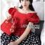เสื้อผ้าเกาหลี พร้อมส่ง เสื้อคร็อปสีแดงและกระโปรงลายจุด thumbnail 6