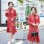 เดรสเกาหลี พร้อมส่ง เดรสสีแดงลายดอกเล็ก thumbnail 3