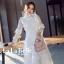 เดรสเกาหลี พร้อมส่ง ชุดเดรสเจ้าหญิงผ้าลูกไม้ปักสีขาว thumbnail 1
