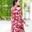 เดรสเกาหลี พร้อมส่ง เดรสสานอกผีเสื้อ ผ้าพิมพ์ลายผีเสื้อขาวเเดง thumbnail 7