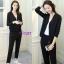 เสื้อเกาหลี คอวี แต่งห่วงกับกางเกง พร้อมส่ง thumbnail 3