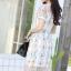 ชุดเดรสเกาหลี พร้อมส่ง Dress ผ้าแก้วปักลูกไม้ลายดอก thumbnail 17