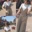 เสื้อผ้าเกาหลี Jump Suit ลายทาง พร้อมส่ง thumbnail 2