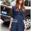เดรสเกาหลี พร้อมส่ง เชิ้ตเดรส ผ้าคอตตอนสีน้ำเงิน thumbnail 5