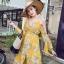 ชุดเดรสเกาหลี พร้อมส่ง เดรสผ้าชีฟอง พิมพ์ลายดอกไม้สีเหลือง thumbnail 8