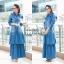 ชุดเดรสเกาหลี พร้อมส่ง Maxi Dress ยีนส์ระบาย thumbnail 9