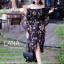 ชุดเดรสเกาหลี พร้อมส่ง เดรสปาดไหล่ แขนกระดิ่ง สม๊อคช่วงตัว thumbnail 2