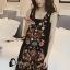 พร้อมส่ง mini dress สีดำแขนกุด ปักดอกไม้ thumbnail 5