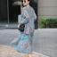 เดรสเกาหลี พร้อมส่ง แม็กซี่ยาว ลายดอกชบา ผ้าชีฟอง thumbnail 6