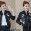 เสื้อเกาหลี พร้อมส่ง แจ๊คเก็ตหนังสีดำ thumbnail 2