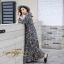 ชุดเดรสเกาหลี พร้อมส่ง Maxi Dress ทรงบาน คอวีป้ายอก thumbnail 15