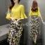 พร้อมส่ง เสื้อเหลืองและกระโปรงลายดอกไม้ thumbnail 3