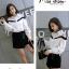 เสื้อเกาหลี พร้อมส่ง เสื้อเชิ้ตตคอปก โชว์ไหล่ thumbnail 7