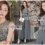 เสื้อผ้าเกาหลี พร้อมส่ง จัมป์สูท ผ้าเครปและผ้าลูกไม้สีเทาเข้ม thumbnail 1