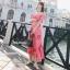 ชุดเดรสเกาหลี พร้อมส่ง Maxi Dress เดรสยาว ลายดอกไม้สีชมพู thumbnail 2