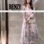 ชุดเดรสเกาหลี พร้อมส่ง เดรสยาว ปักทั้งตัวสีชมพูหวาน thumbnail 1