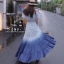 ชุดเดรสเกาหลี พร้อมส่ง Maxi Dress สม็อคไหล่ thumbnail 2