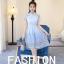 เดรสเกาหลี พร้อมส่ง เดรสสั้น สีฟ้า คอจีน แขนสั้น thumbnail 11