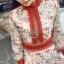 เดรสเกาหลี พร้อมส่ง เดรสยาว ซีทรูปักลายดอกไม้สวย thumbnail 10