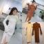 ชุดเดรสเกาหลี พร้อมส่ง เดรสยาว ผ้าไหมพรม ผ่าข้าง thumbnail 7