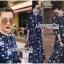ชุดเดรสเกาหลี พร้อมส่ง เดรสยาว ผ้าชีฟองสีน้ำเงินพิมพ์ลายดอกไม้ thumbnail 5