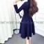 เดรสเกาหลี พร้อมส่ง มินิเดรส แขนยาวผ้าคอตตอน thumbnail 3