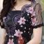 ชุดเดรสเกาหลี พร้อมส่ง Dress ผ้าแก้วปักลูกไม้ลายดอก thumbnail 11