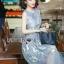เดรสแฟชั่น พร้อมส่ง เดรสยาว ผ้าแก้วสีฟ้า ปักลายดอกไม้ thumbnail 2