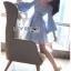 เดรสเกาหลี พร้อมส่ง มินิเดรส ลายทางสีฟ้า-ขาว thumbnail 4