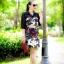 พร้อมส่ง Dress คอปกและแขนชีฟองตัดต่อ ชุดเดรสเกาหลี thumbnail 2