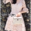 พร้อมส่ง เดรสผ้าลูกไม้สีชมพูสไตล์เฟมินีน thumbnail 2
