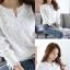 เสื้อเกาหลี คอกลม ผ่าคอ พร้อมส่ง thumbnail 3