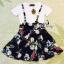 พร้อมส่ง เสื้อยืดคอกลมแขนสั้นสีขาว มาพร้อมกับเอี้ยมลายดอกพื้นดำ thumbnail 10
