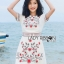 เดรสเกาหลี พร้อมส่ง เดรสผ้าเครปสีขาว กระโปรงเอไลน์ thumbnail 9
