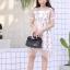 ชุดเดรสเกาหลี พร้อมส่ง Dress ผ้าแก้วปักลูกไม้ลายดอก thumbnail 3