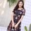 ชุดเดรสเกาหลี พร้อมส่ง Dress ผ้าแก้วปักลูกไม้ลายดอก thumbnail 9