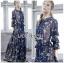 ชุดเดรสเกาหลี พร้อมส่ง เดรสยาว ผ้าชีฟองสีน้ำเงินพิมพ์ลายดอกไม้ thumbnail 1