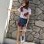 พร้อมส่ง ชุดเซ็ทเสื้อ+กางเกงยีนส์ปักขาสั้นเกาหลี thumbnail 4