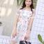 ชุดเดรสเกาหลี พร้อมส่ง Dress ผ้าแก้วปักลูกไม้ลายดอก thumbnail 4