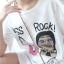 เดรสเกาหลี พร้อมส่ง เดรสผ้ายืด สกรีนลายKiss Rock thumbnail 5