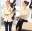 พร้อมส่ง เสื้อแฟชั่น เสื้อเกาหลี เชิ้ตขาวผ้าตาข่าย thumbnail 9